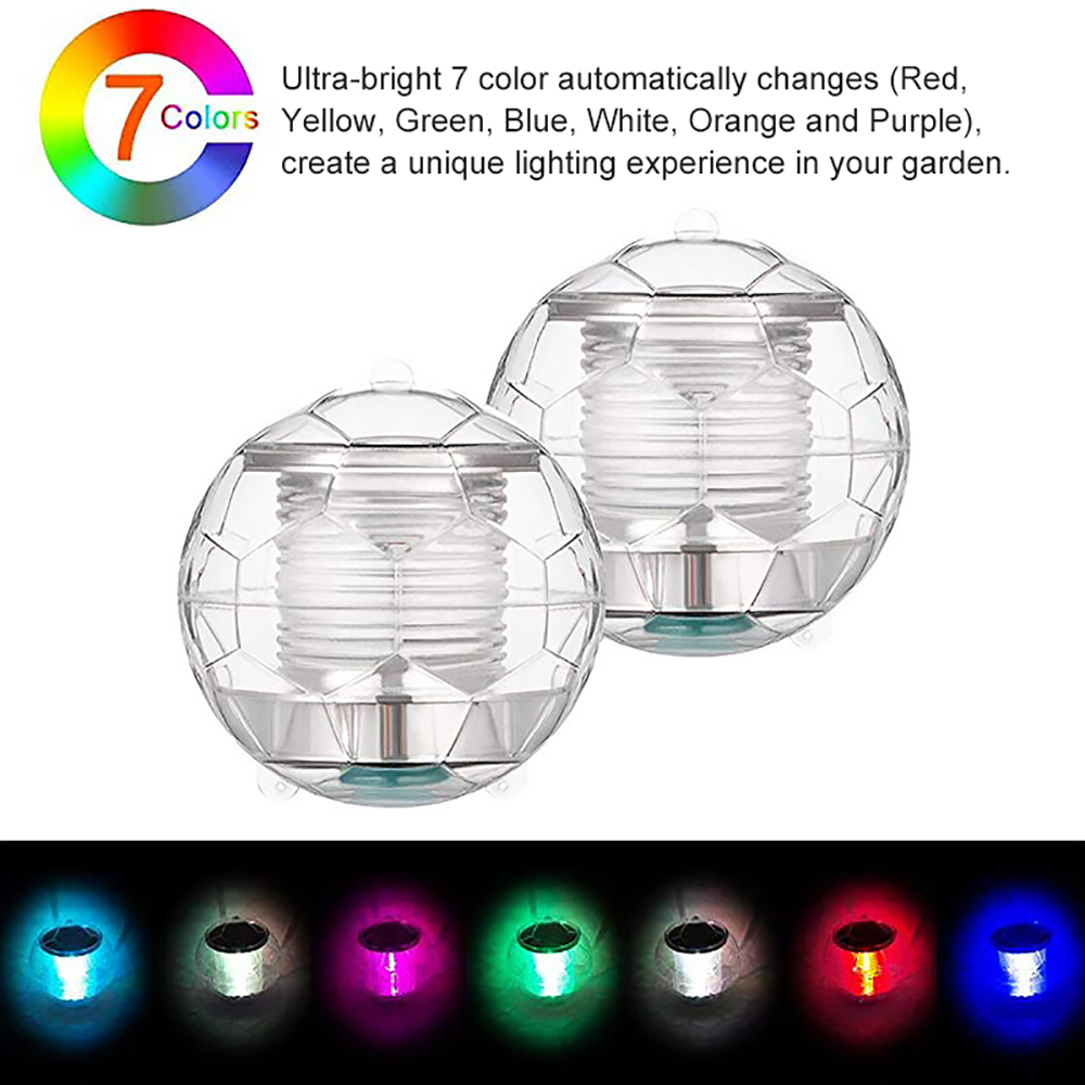 LED Solar Floating Lights Solar Powered 7 Colors Changing Pond Lights Pool Ball Lights Pendant Solar Light Floating Ball Lights|  - title=