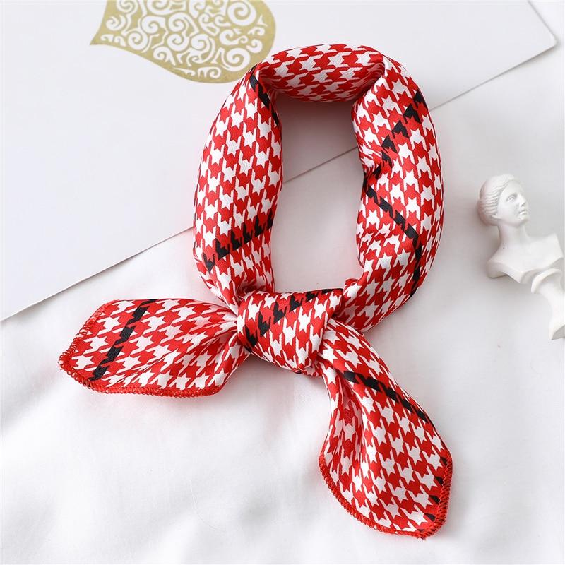 Lady Silk Hair Scarf Small Square Neck Wraps 2020 Designer Print Foulard Women Head Scarves Bandana Kerchief Bag Skinny Tie