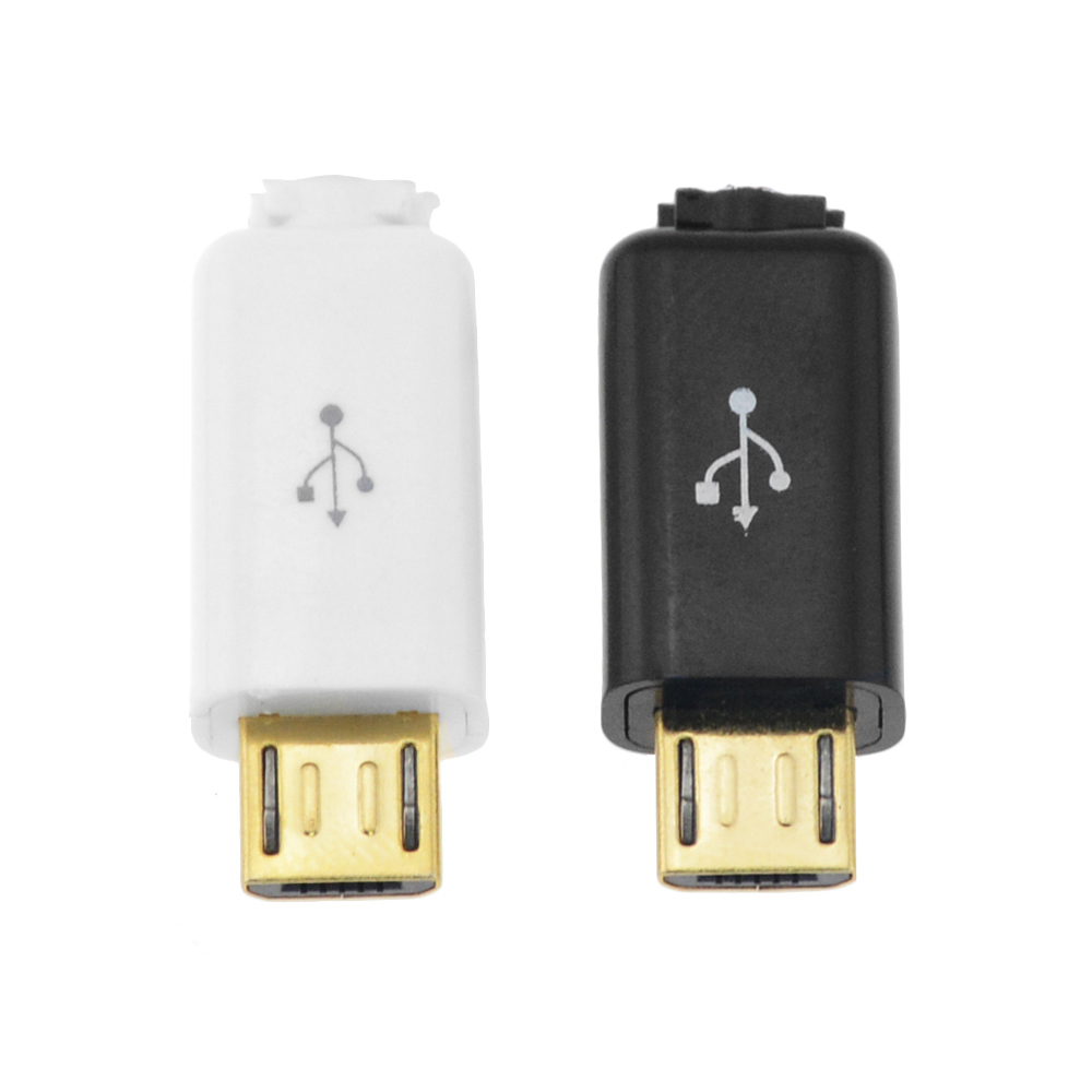 5PCS Gold Head  4 In 1 Micro USB 5P Male Connector Plug Black White Welding Data OTG Line Interface DIY Data Cable Accessories