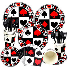 Poker themed Kids adult birthday Disposable party tableware Casino playing Paper plates Birth day parties decoration Boys favor(China)