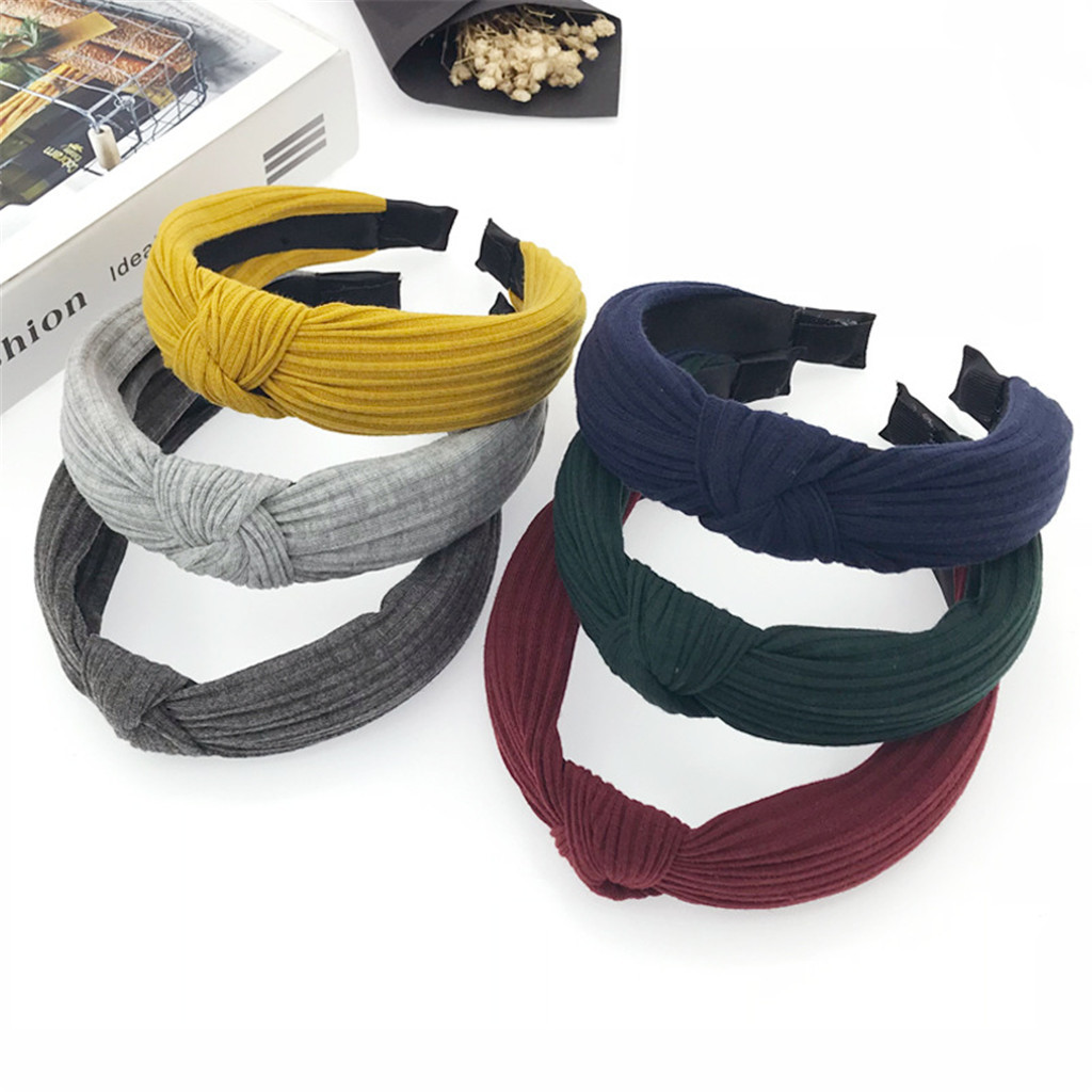 Female Cloth Headband Cross Cotton Soft 1PC Knotted Wide Bezel Turban Braided Headband Girl Sweet 8 Colors Gifts Solid Headwrap