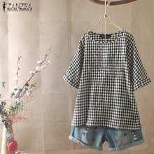 2020 Plus Size ZANZEA Summer Blouse Women Casual Short Sleeve Vintage Check Plaid Tunic Tops Shirt Blusas Female Chemise Robe