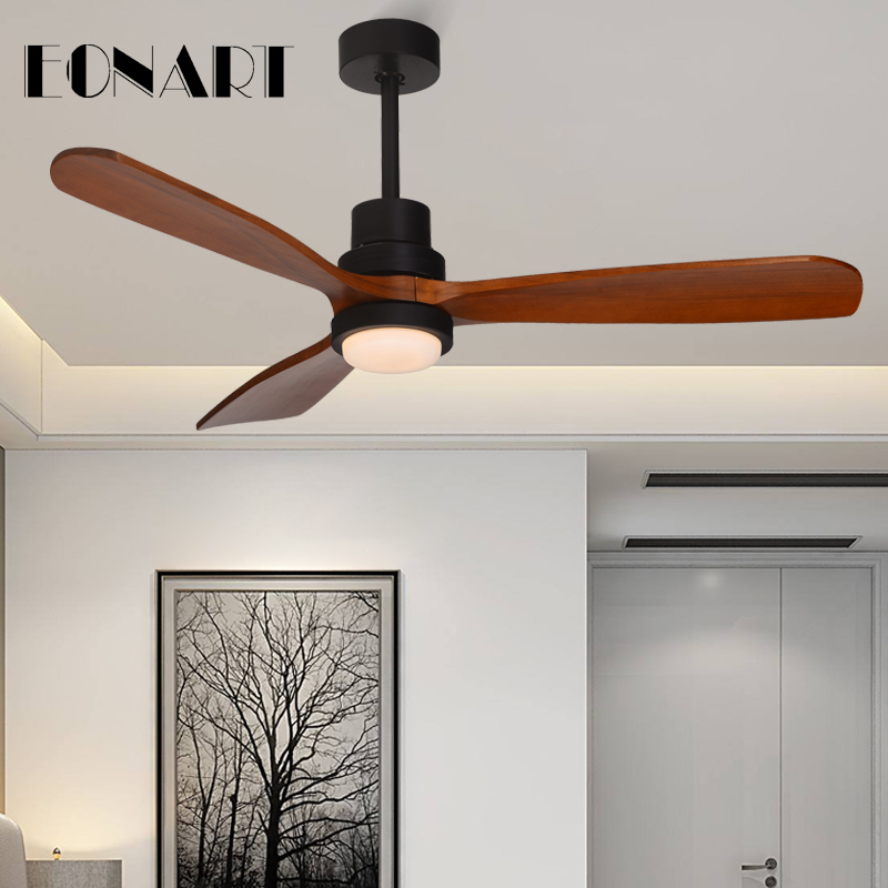 The Cheapest Price 52 Inch Modern Led 15w Solid Wood Luxury Decorative Ceiling Fan Lamp With Remote Control 100-240v Motor Ceiling Fans With Light