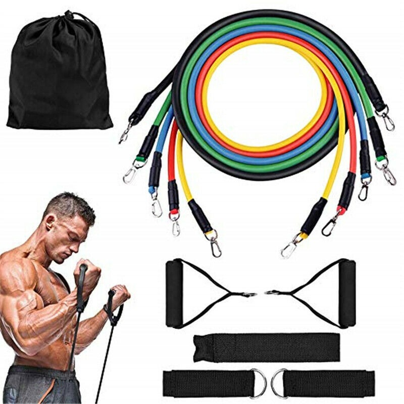 11PCS Resistance Bands Workout Exercise Fitness Pull Tubes Gym Strength Training Exercise Equipment Elastic Bands For Fit