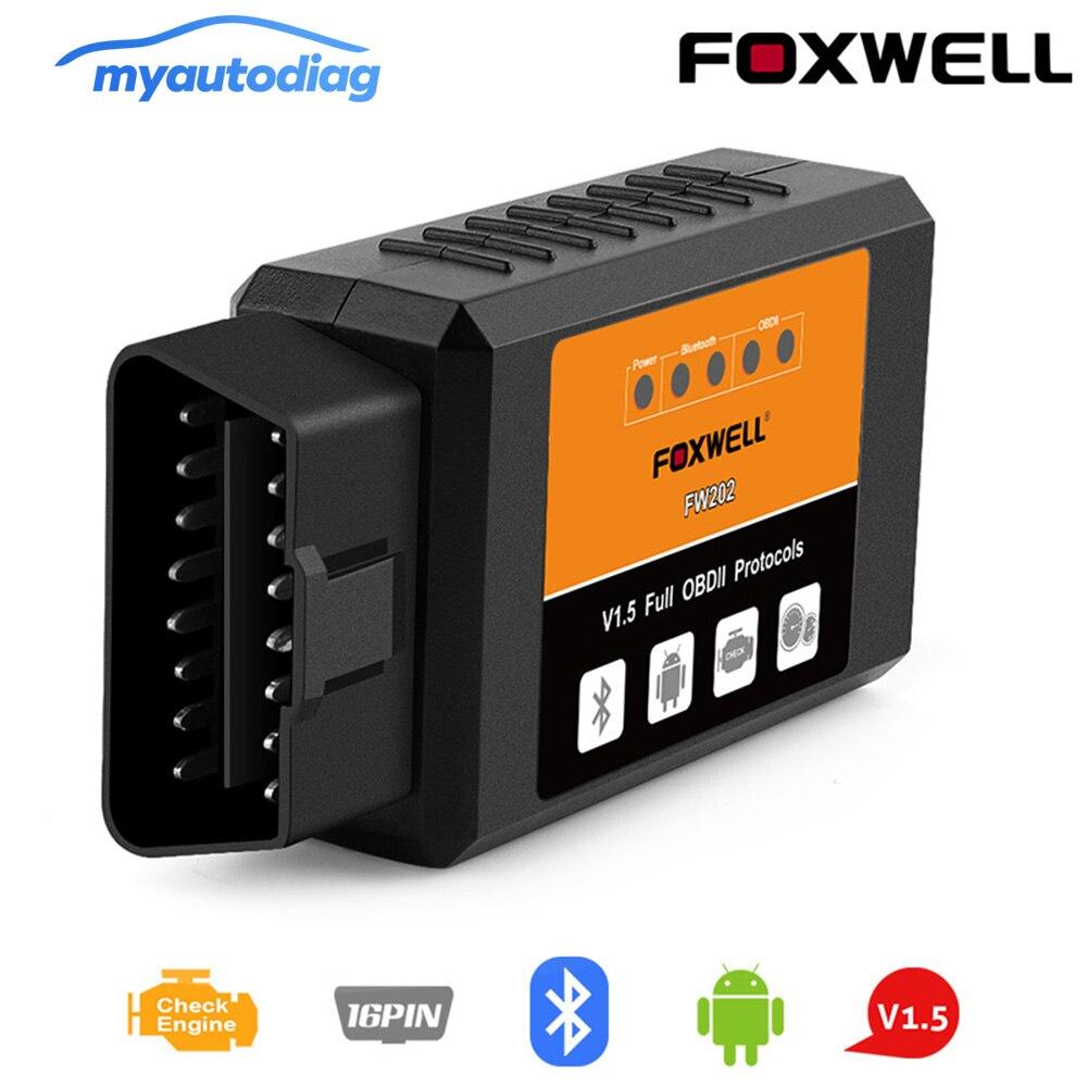 Neue FOXWELL FW202 OBD2 ELM327 Bluetooth V1.5 PIC18F25K80 ODB 2 Auto Code Reader Scanner OBDII ODB2 ODB II Scan Tool ULME 327 V 1,5