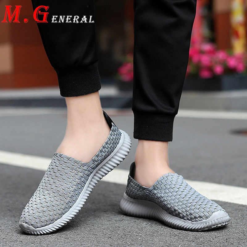 Büyük boy spor ayakkabılar erkek yürüyüş ayakkabı el yapımı dokuma spor ayakkabı erkekler için nefes yumuşak ayakkabı spor kayma-on koşu mokasen V7