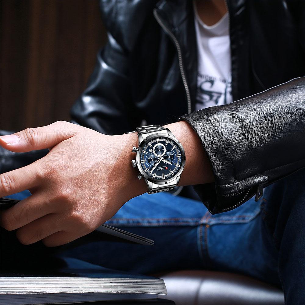 H0f065518f144421788c88de1d79f59786 CURREN Top Brand Military Quartz Watches Silver Clock Mens Quartz Stainless Steel Chronograph Watch for Men Casual Sporty Watch