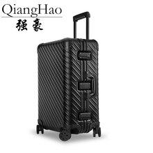 حقيبة سفر للأعمال من سبائك الألومنيوم موضة 100% حقيبة سفر على شكل عربة مع قفل للمقصورة من طراز Malas de viagem com rodinhas TSA