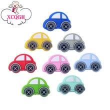 XCQGH 20 Uds. De molares de silicona para bebé, cuentas multicolor para Mini coche, mordedor para bebé, collar, pulsera, accesorios