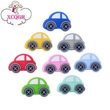 XCQGH 20PCS Baby Silicone Molars Beads Multi color Mini Car Baby Teether Necklace Bracelet Accessories Baby Molar Teether