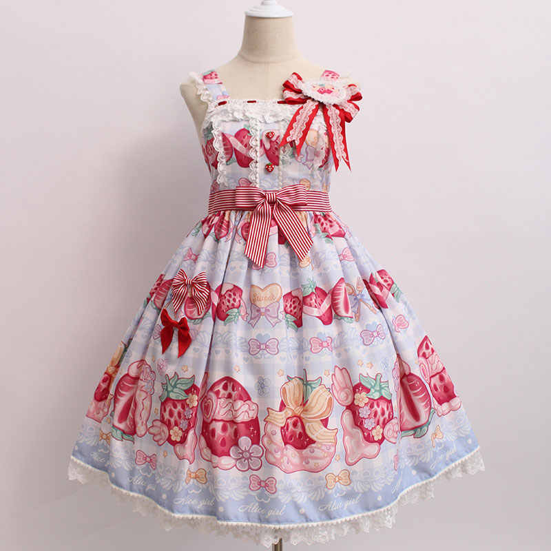 Creme & Morango ~ JSK Vestido Lolita Doce Impresso w. Crachá por Alice Menina ~ Pré-encomenda