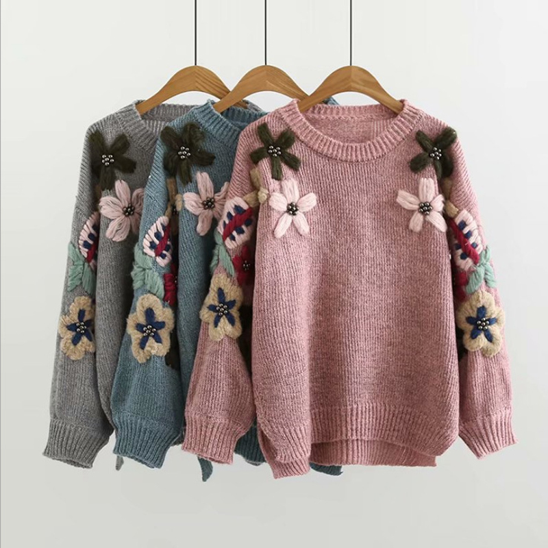 2019 New Women's Fashion Autumn And Winter Round Neck Sweater Long-sleeved Warm Pullover Floral Embroidered Knit Jumper Top