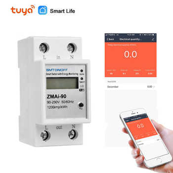 WiFi Smart Life app 5(60)A Single phase Din rail Smart Switch with Energy monitoring caculate Power Consumption for Smart home - Category 🛒 All Category