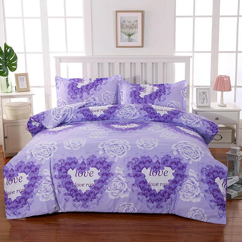Purple Rose Pattern Bedding Multi-size Sheet Duvet Cover Pillowcase Single Piece Bedding Single Person Double Quilt Cover