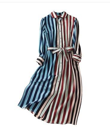2020 nuevo vestido de camisa de seda de peso pesado a la moda moderno con estampado de rayas de manga larga con lazo en la cintura ol