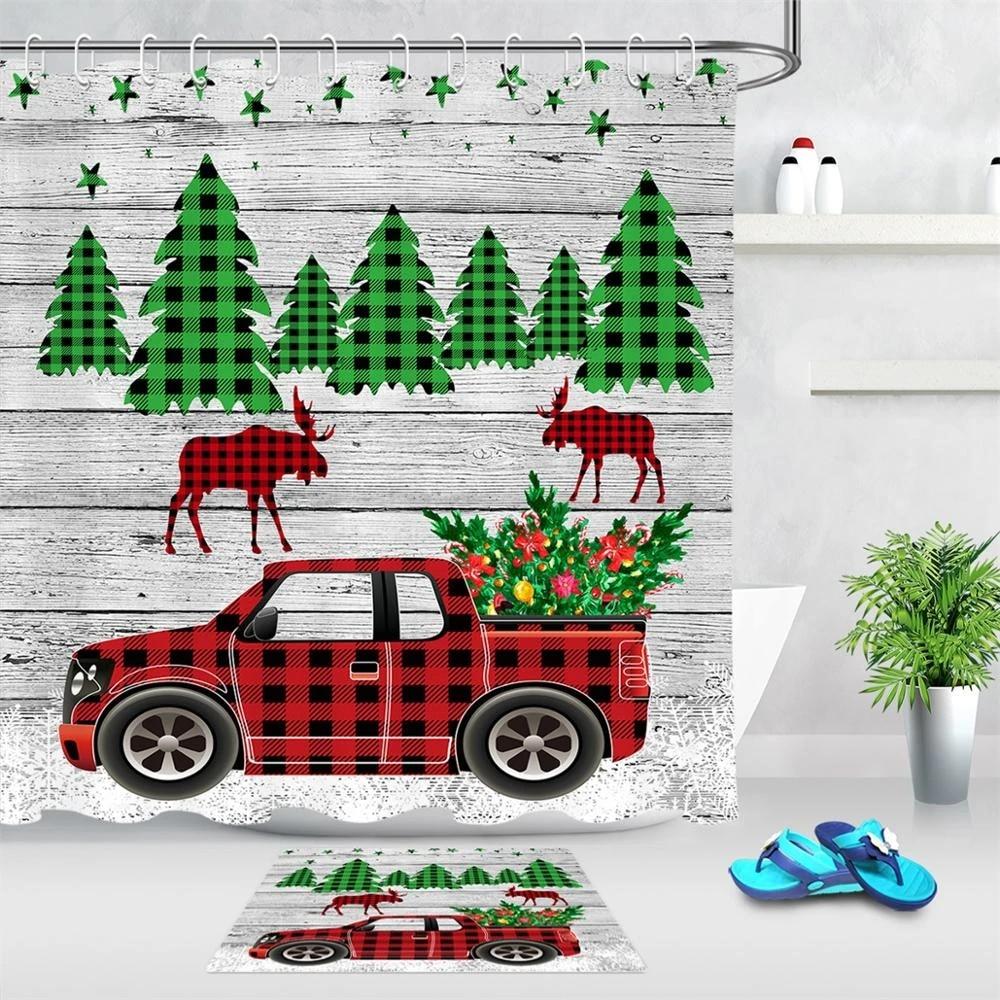 plaid cartoon pattern red truck christmas tree deer bathroom shower curtain wood board background shower curtain home decoration