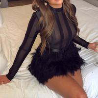 Design Feather Mesh Dress Sexy Black Long Sleeve Bodycon Dresses Feathers 2019 Night Club Party Transparent Dress Vestidos