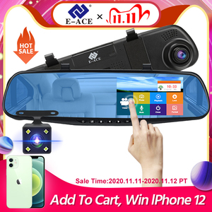 Image 1 - E ACE Auto Dvr Dash Cam 4,3 Zoll Touch FHD 1080P Rückspiegel Video Recorder Dual Objektiv Auto Registrator Mit rückansicht Kamera