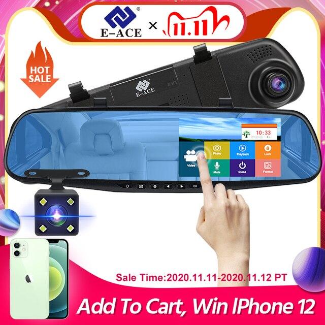 E ACE Auto Dvr Dash Cam 4,3 Zoll Touch FHD 1080P Rückspiegel Video Recorder Dual Objektiv Auto Registrator Mit rückansicht Kamera