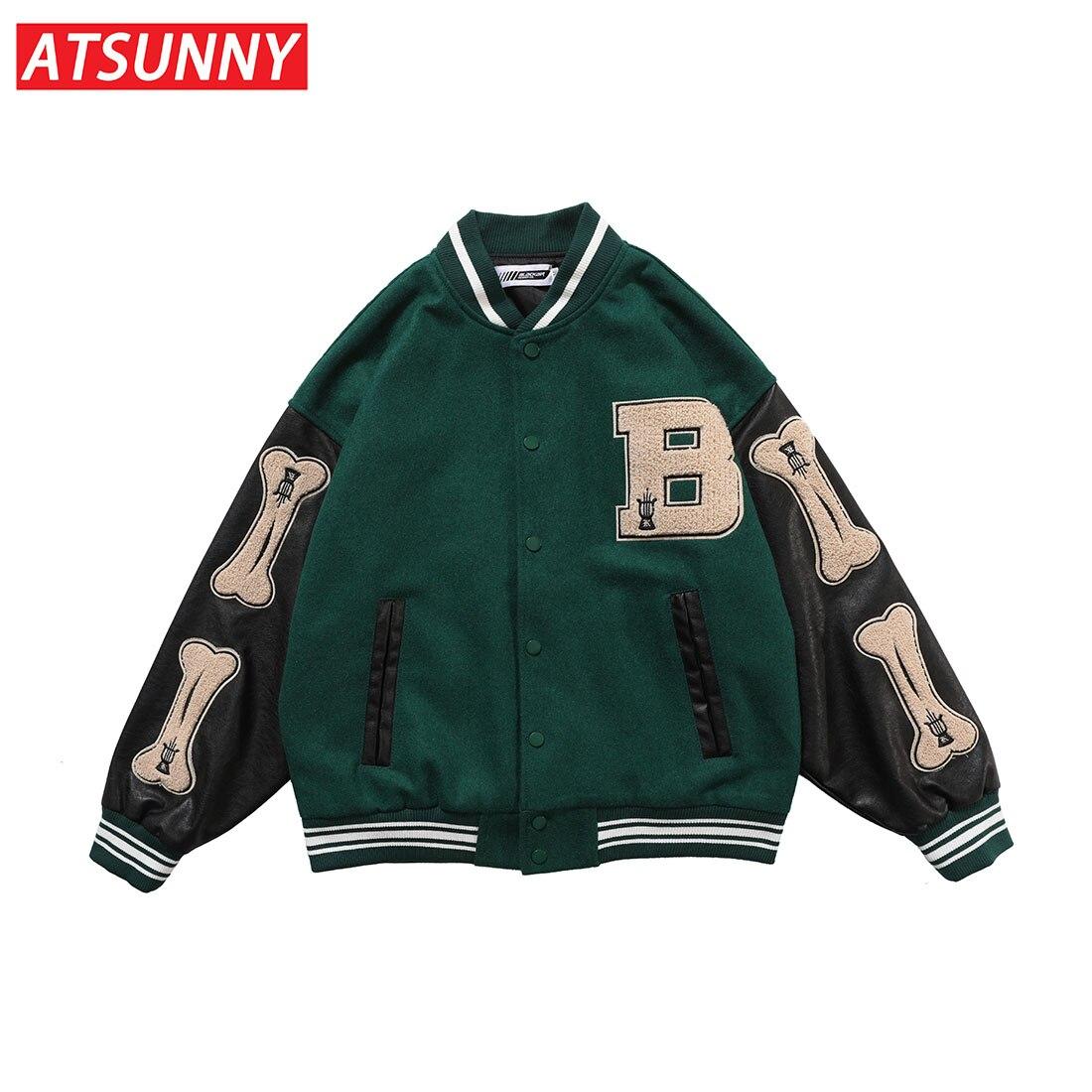 ATSUNNY Winter Coat Men Hip Hop Baseball Jacket Harajuku Retro Varsity Jacket Casual Jacket Fashion Coat Streetwear Tops