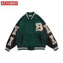 ATSUNNY Winter Coat Men Hip Hop Men Baseball Jacket Harajuku Retro Varsity Jacket Casual Jacket Fashion Coat Streetwear Tops