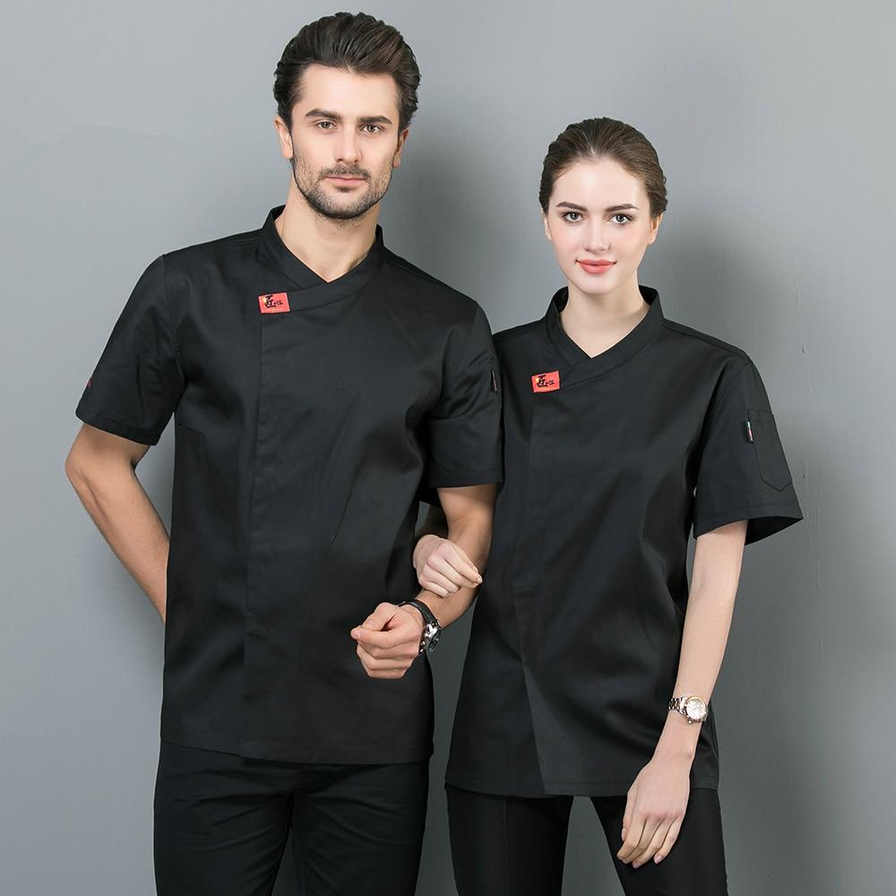 Chef Uniform Black White Bakery Kitchen Cook Chef Jacket Short Sleeve Breathable Cook Shirt Restaurant Cozinha Catering Clothing