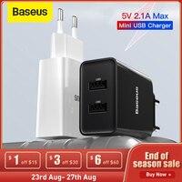 Baseus carregador de 2,1a duplo usb, 5v para telefone celular samsung xiaomi adaptador de viagem rápido para carregador de iphone plugue da ue