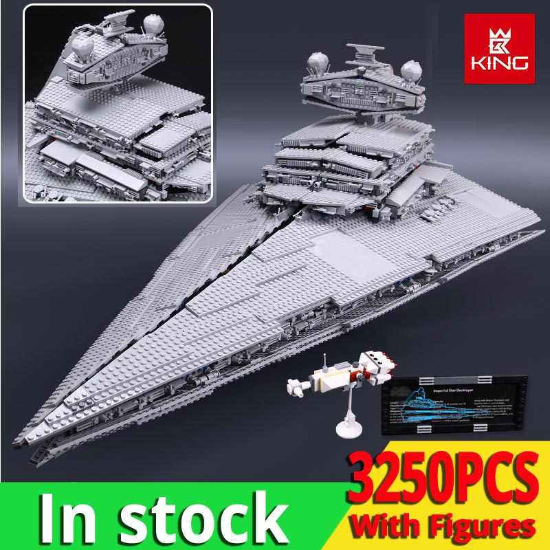KING 05027 The Imperial Star Destroyer UCS Fighters Star Wars Movie Model Building Blocks Compatible with legoinglys 10030 Toys