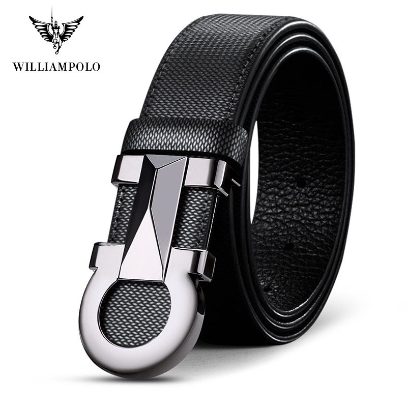 Williampolo 2019 100% Cowhide Leather Mens Automatic Buckle Belt Luxury Brand Casual Waist Belt PL18224-26P