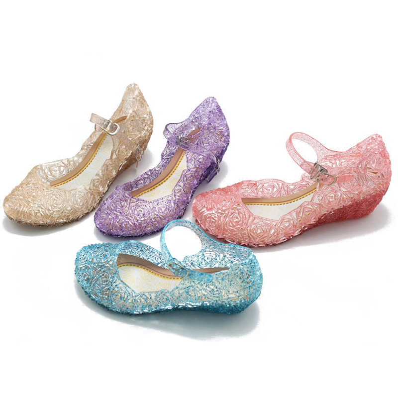 Girl Sandal Children Princess Shoes Elsa Cinderella Belle Sofia Rapunzel Evening Dancing Shoe Summer Fancy Dress Up Party Supply
