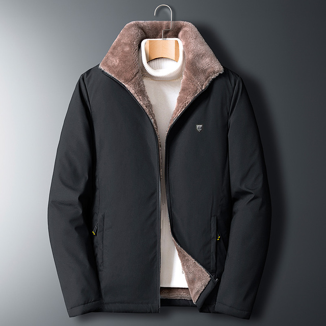Fleece Jacket Men 's Warm Thick Windbreaker High Quality Fur Collar Coat Plus Size M-5XL Brand Fashion Winter Fleece Parkas 2