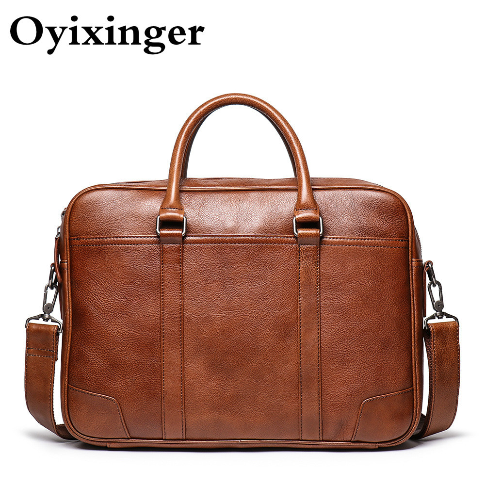 OYIXINGER Genuine Natural Leather Men Briefcase Man Office Bag 15 Inch Laptop Portafolio Highend Vintage Classic Brown Handbags