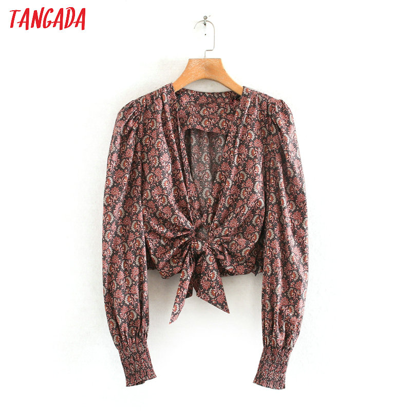Tangada Women Retro Sexy Beach Print Blouse Deep V Neck Long Sleeve Chic Female Pleated Shirt Blusas Femininas 2W06