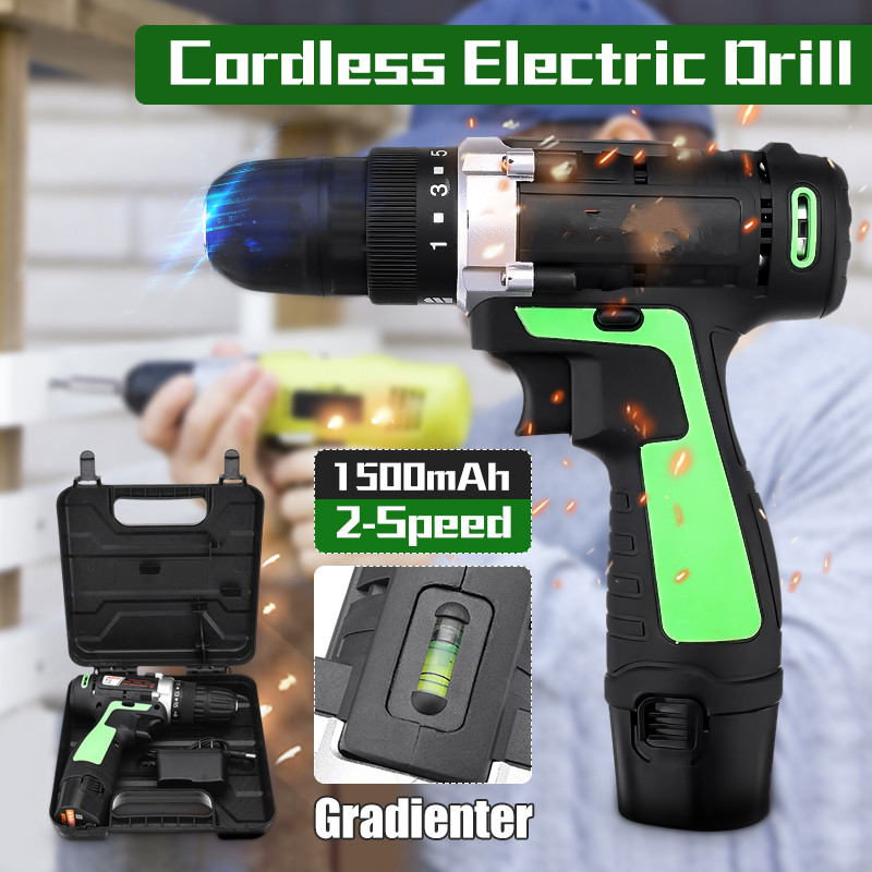 12V 220V Battery Rechargeable Cordless Drill Electric Screwdriver Driver 3/8'' With LED Light Drill DIY Woodworking Power Tools