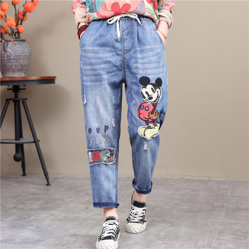 Cartoon Mouse Harem Jeans For The Adult And Big Girl M L XL Size