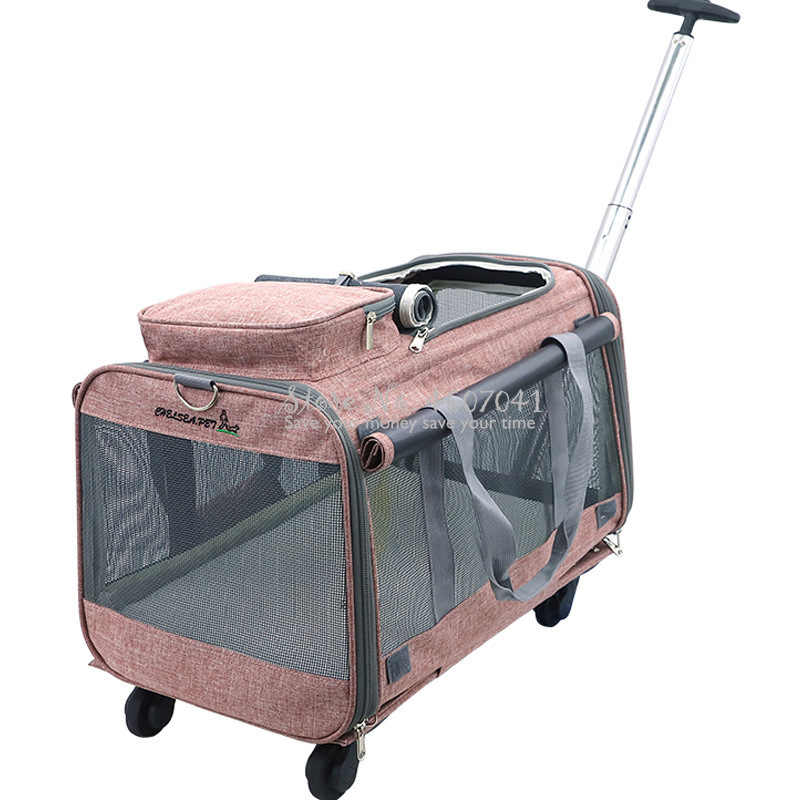 Breathable Portable Pet Bag Foldable Collapsible Pet Cart with Universal Wheels Outdoor Travel Pet Cat Carrier Dotomy Pet Cage
