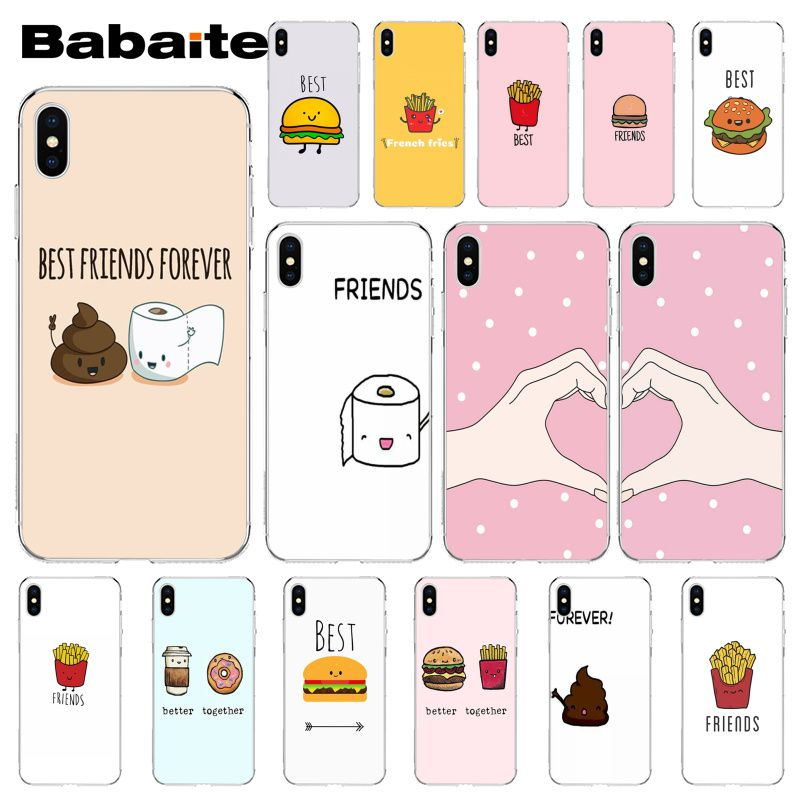 Babaite <font><b>BFF</b></font> Best Friends Burger and Fries Food Luxury High-end Protector <font><b>Case</b></font> for <font><b>iPhone</b></font> X XS MAX 6 6S 7 7plus 8 8Plus 5 5S XR image