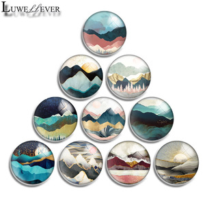 12mm 14mm 16mm 20mm 25mm 30mm 587 Hill Mix Round Glass Cabochon Jewelry Finding 18mm Snap Button Charm Bracelet