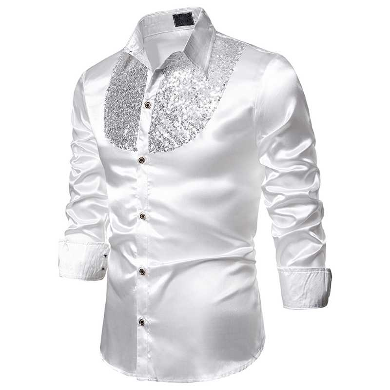 MJARTORIA Men's Luxury Sequin Dress Shirts Long Sleeve Satin Shiny Disco Party Shirt Men Stage Dance Nightclub Prom Costume