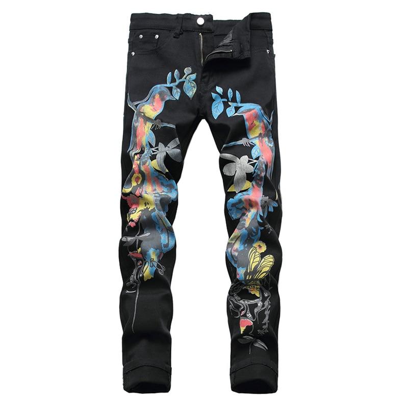 Sokotoo Men's birds butterfly 3D print jeans Fashion slim straight black stretch denim pants