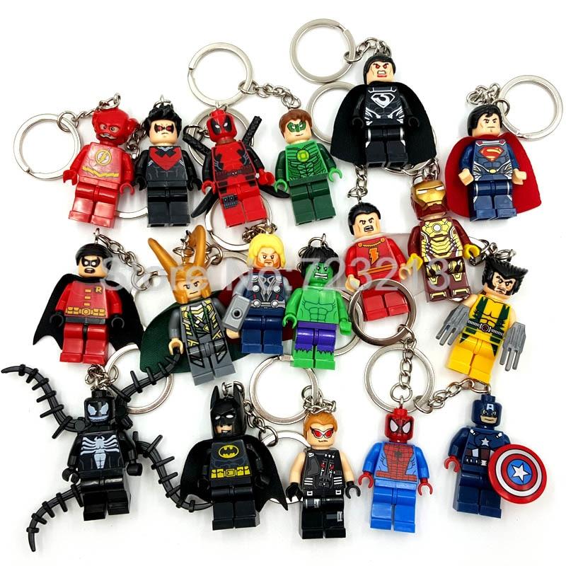 Super Heroes Figure keychain Marvel DC Batman Iron Spider Man Thor Deadpool Flash Robin Loki Venom Building Blocks Toy Legoing
