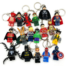 Super Heroes Figuur sleutelhanger Marvel DC Batman Iron Spider Man Thor Deadpool Flash Robin Loki Venom Bouwstenen Speelgoed Legoing(China)