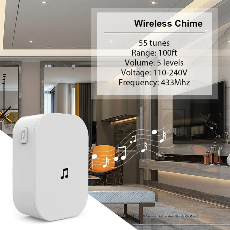 M2D Smart Wifi Doorbell Chime 100DB 300M Remote Control Wireless Video Doorbell 433MHz Wireless Waterproof Home Security Chime