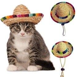 Palha sombrero mexicano chapéu pet fivela ajustável pet tecido chapéu de palha traje para cães ajustável