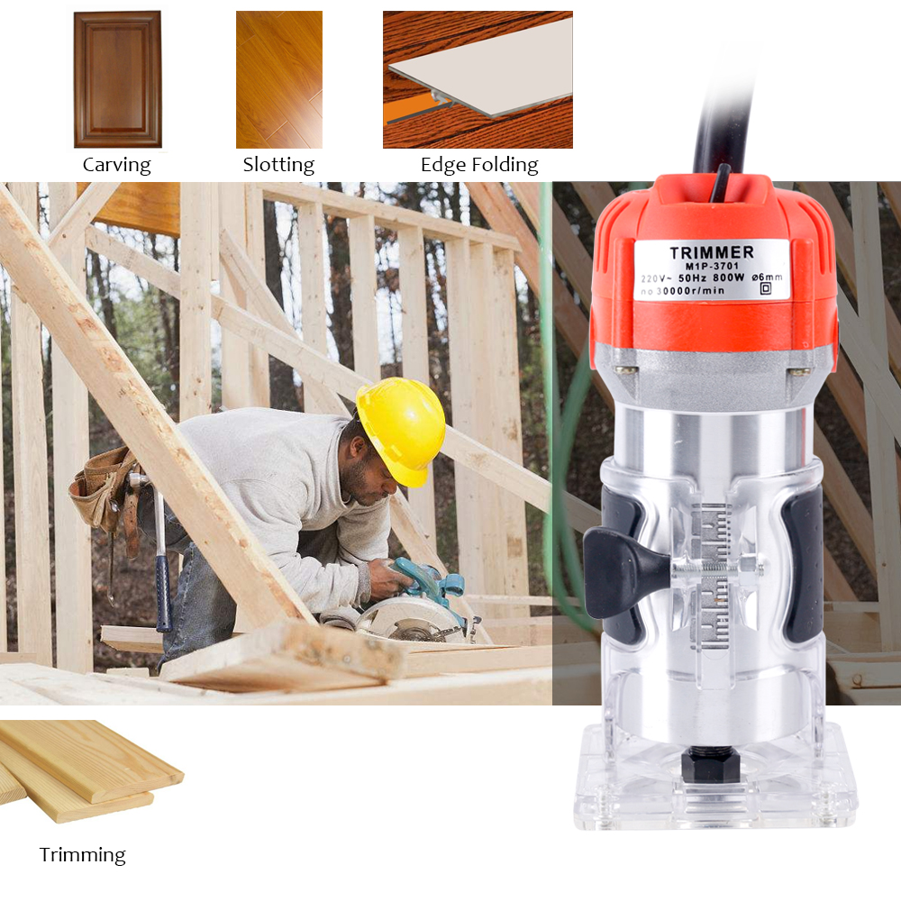 BLM-6 Woodworking Electric Trimmer Wood Milling Engraving Slotting Trimming Machine Hand Carving Machine Wood Router