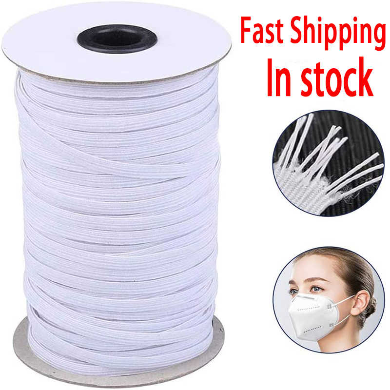 100 Yard 1//8 inch Elastic for Sewing White 3mm Wide Round Soft Strap String Elastic Cord Sewing Stretchy Mask Ear Tie Rope DIY Handmade