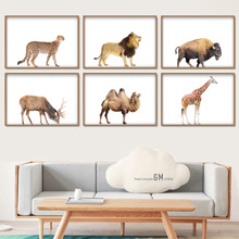 Lion Rhinoceros Leopard Cow Camel Wall Art Print Canvas Painting  Nordic Posters And Prints Pictures For Living Room