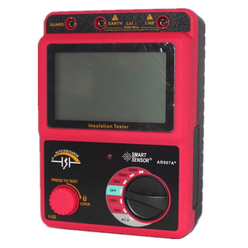 Smart Sensor AR907A+ 100-2500V Insulation Resistance Tester Digital Megohmmeter AC / DC Voltage Tester Ohm Meter