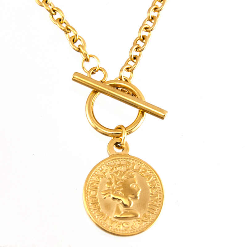 S. staal vrouwen ketting Coin charm T BAR KETTING GOUD KLEUR Toggle hangslot Lange KETTING collares de moda Boho Collier gift