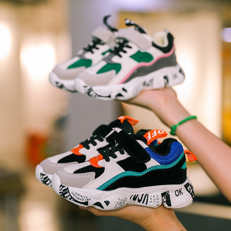 2019 Winter Kids Sports Shoes Children Casual Boys Patchwork Sneaker Fashion Autumn Graffiti Girls Student Boots Anti-Slippery